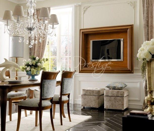 Art.037 Cornice elegante porta tv noce - Art Prestige – Luxury Furniture