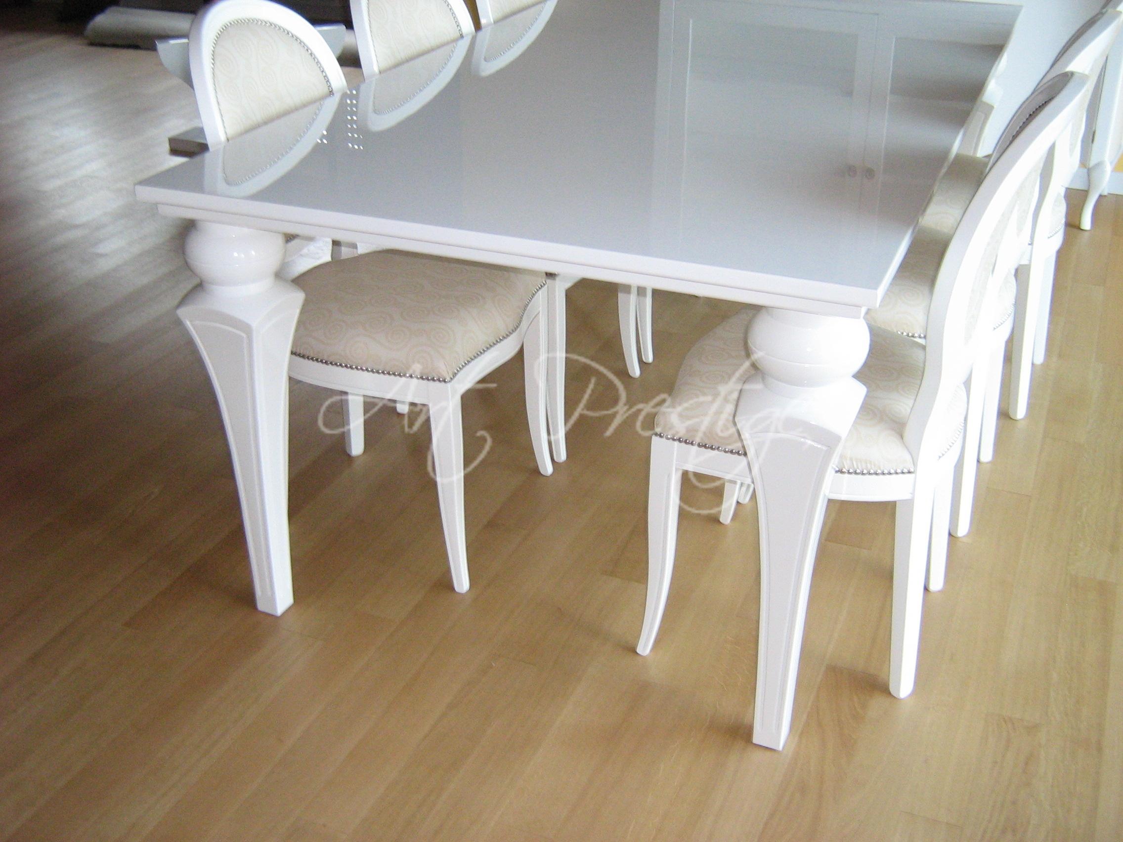 Art comp zaffiro tavolo bianco lucido art prestige - Tavolo bianco lucido ...