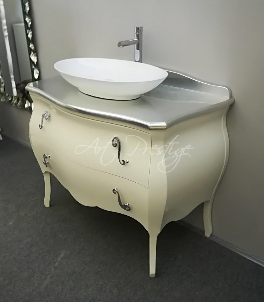 Mobile bagno bombato laccato bianco - Art Prestige – Luxury Furniture
